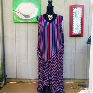 Ava&Viv Burgundy and blue stripe  dress 1X.